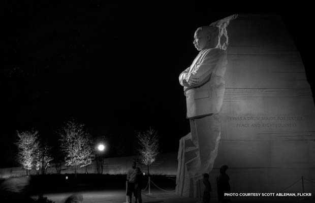 Martin Luther King, Jr. Memorial at night, Washington, D.C. Credit: Scott Ableman, Flickr