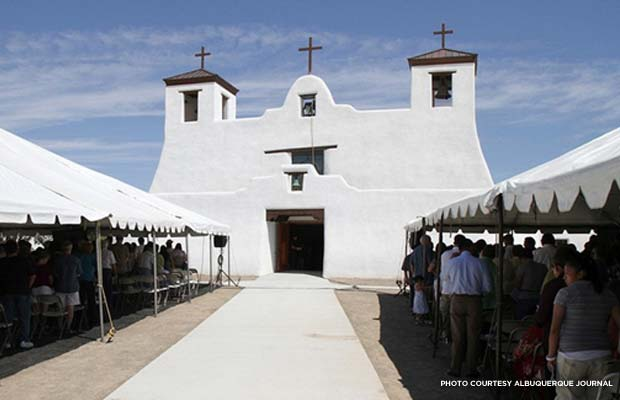 The restored mission ready for the re-dedication mass on Aug. 13, 2011. Credit: Albuquerque Journal
