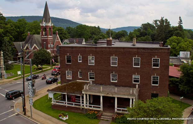A bird's-eye-view of The Sherburne Inn today. Credit: Rick L. Crowell Photography