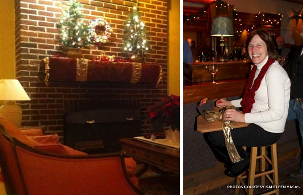 (l.) The Inn's bar fireplace and seating just prior to the December 6 fundraiser; (r.) Teresa Yacono Jones, winner of the December 6 door prize. Credit: Kathleen Yasas