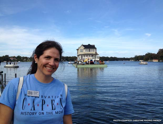 "Project Director Christine Madrid French, with ""Ginger"" floating on the lake. Credit: Christine Madrid French"
