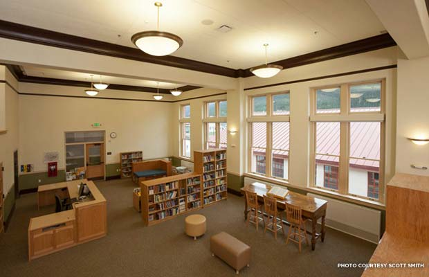 The school's restored library. Credit: Scott Smith
