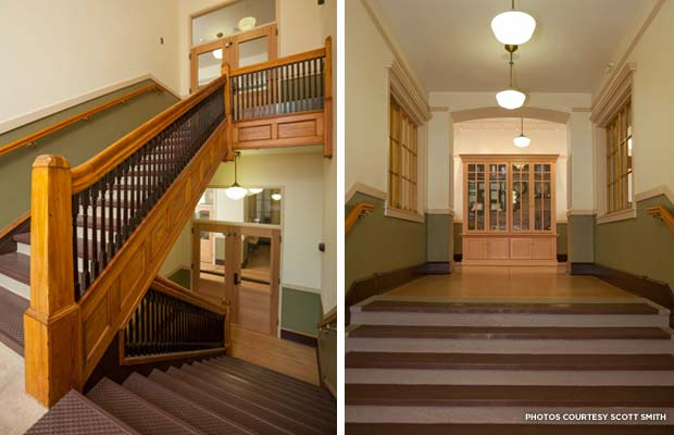 The original woodwork on the school's staircases and cabinetry was refurbished by local workers. Credit: Scott Smith