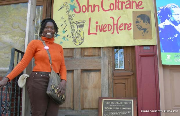 Melissa Jest in front of the John Coltrane House. Credit: Melissa Jest