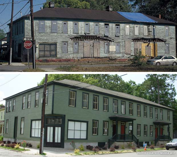 Lincoln Street before and after in Savannah, Ga. Credit: Melissa Jest