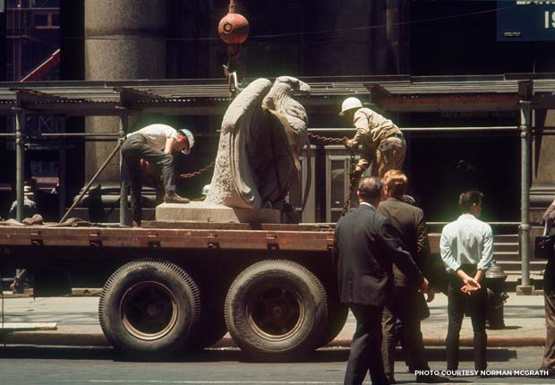 The Penn Station eagles are taken away after demolition. Credit: Norman McGrath