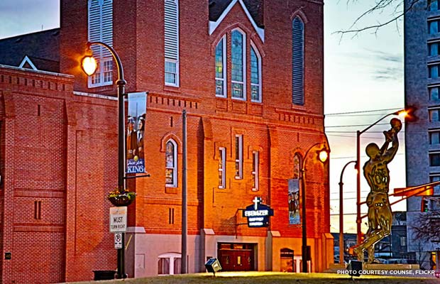 Martin Luther King, Jr. was baptized and later became co-pastor at Ebenezer Baptist Church in Sweet Auburn, Ga. Credit: Counse, Flickr