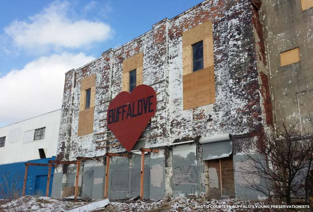 Buffalove sign on the Agway Malting Warehouse in Buffalo. Credit: Buffalo's Young Preservationists