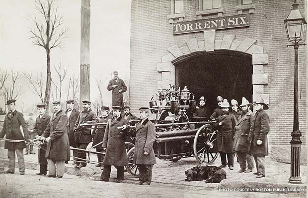 The Eustis Street Fire House was built in 1859 and was named Torrent Six after its hand-pumper engine, built by the Hunneman Company in Roxbury. Credit: Boston Public Library