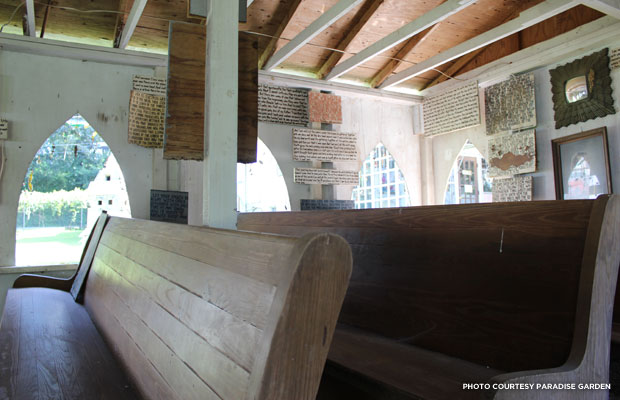 The chapel walls are covered with Biblical messages handwritten by Finster.