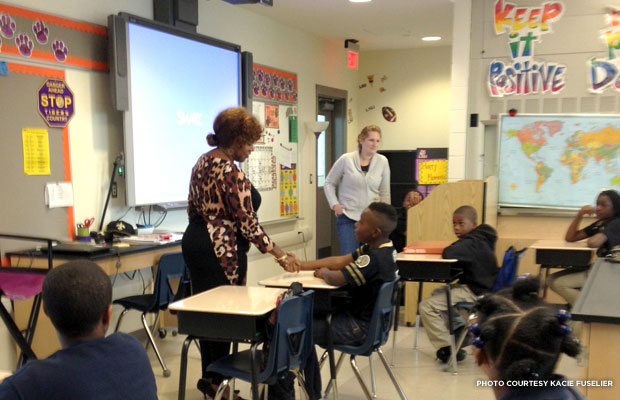 Ruby Bridges visits students at the restore William Frantz Elementary School/Akili Academy.