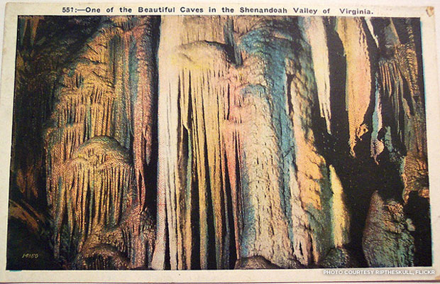 A vintage postcard rendering of the Shenandoah's historic limestone caves.