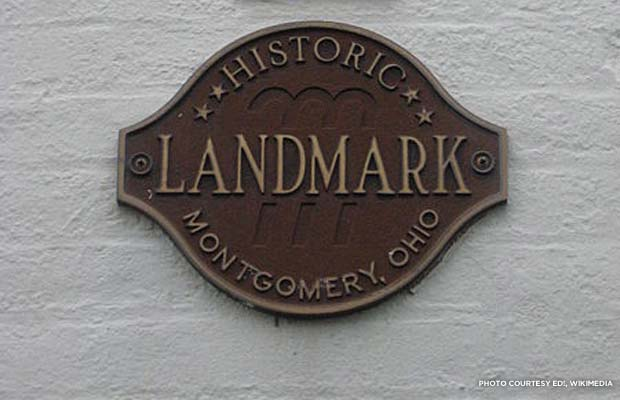 A local historic landmark plaque in Montgomery, Ohio.
