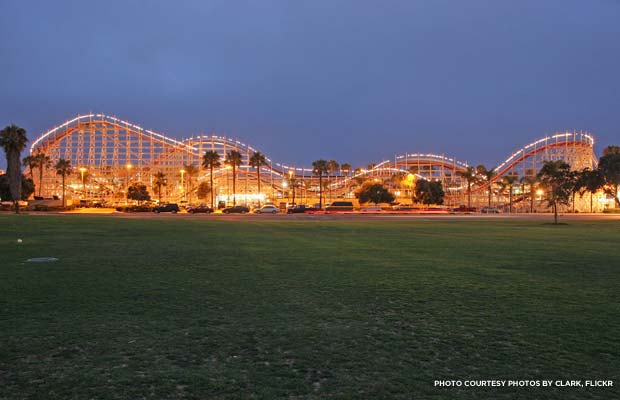 The Mission Beach Roller Coaster, a National Historic Landmark in San Diego, Calif.