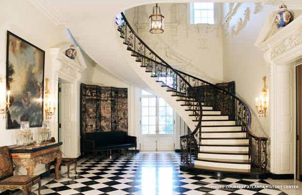 The grand staircase of Swan House was off limits to family members. Credit: Atlanta History Center