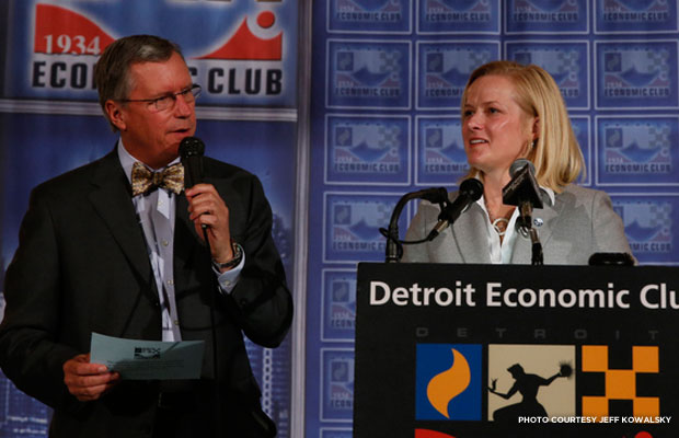 President Stephanie K. Meeks speaks at the Detroit Economic Club in May, 2014. Credit: Jeff Kowlasky