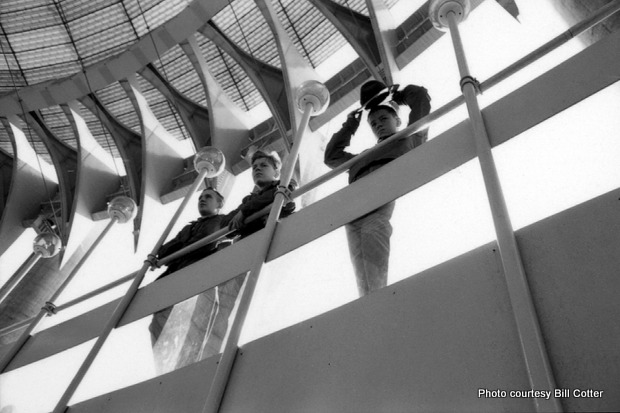 Three teenagers stand on the Tent of Tomorrow's mezzanine platform, also made of steel. Credit: Bill Cotter