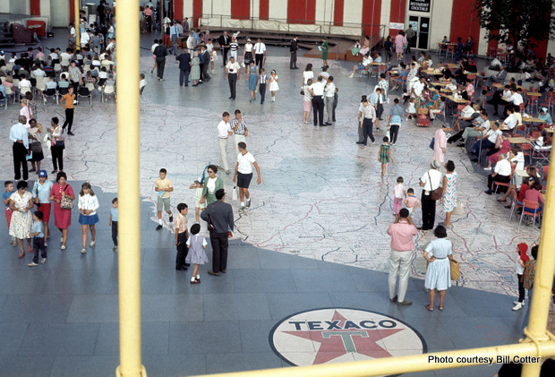 On the interior floor of the pavilion's mezzanine was a 9,000-square-foot map, made of 567 terrazzo panels, of the state of New York, based on a map from Texaco Company. Each terrazzo panel weighed an impressive 400 lbs. Meticulously detailed to scale, the cities, highways, roads, and, yes, Texaco gas stations, are all accurately mapped. Visitors from across New York would stand on their cities for a classic photo op -- one of many photo ops and lasting memories of what has been called one of the most popular world's fairs in history. Credit: Bill Cotter