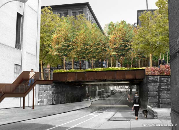A rendering of a completed section of the elevated  Rail Park as it crosses 13th St. Credit: Liz Maillie