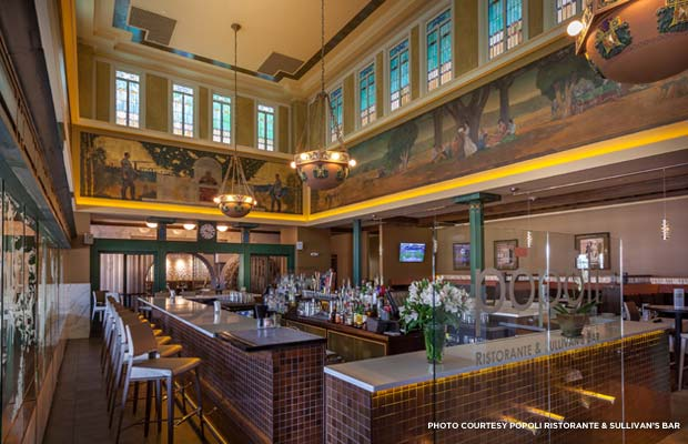 "The 1911 Allen E. Philbrick murals in Popoli's Restaurant and Sullivan's Bar in Louis Sullivan's Peoples Savings Bank building narrowly escaped the flood waters by five feet. The artist's style likely inspired a teenaged Grant Wood, the future painter of ""American Gothic."" Credit: Popoli Ristorante and Sullivan's Bar"