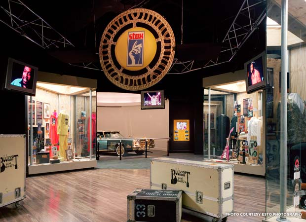 Touring cases belonging to Stax house band Booker T. & the MGs, Isaac Hayes's gold-plated Cadillac, and stage wear from some of soul music's hottest performers are among the displays at the Stax Museum of American Soul Music. Credit: Esto Photography
