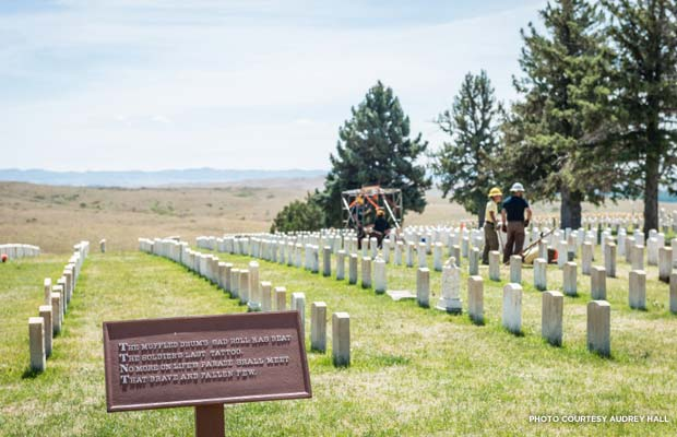 Custer National Cemetery, in Montana's Little Bighorn Battlefield National Monument holds the graves of veterans from the Battle of Little Bighorn itself, as well as the Spanish-American War, World War I, World War II, the Korean War, and the Vietnam War. Credit: Audrey Hall