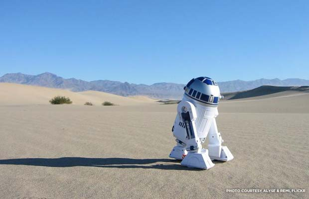 "An R2-D2 character visits Death Valley (also known as the planet Tatooine in ""Star Wars""). Credit: Alyse & Remi, Flickr"