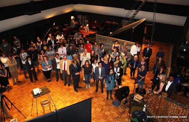 A crowd gathers at RCA Studio A for the unveiling of Historic Nashville's Nashville Nine. Credit: Robbie Jones