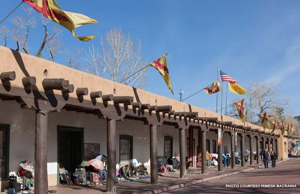 The Palace's front portal has long been a place for local Native American artisans to showcase and sell their work.