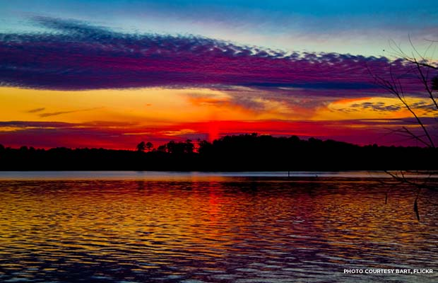 Sunset over the James River in Virginia.