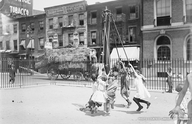 Giant Stride ca. 1910-1915 as would be seen on a Model Playground. Credit: Library of Congress.