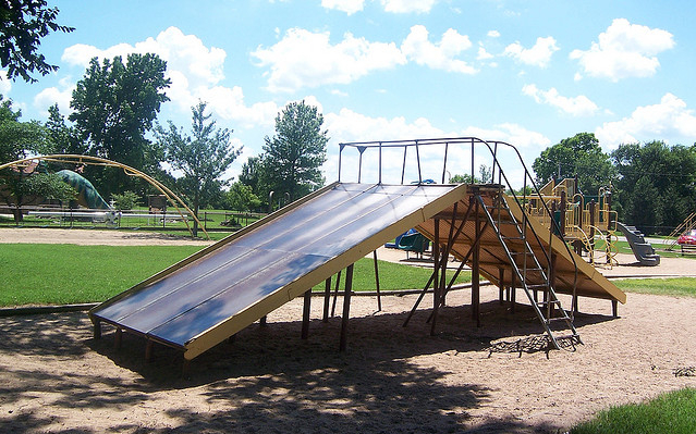 """One of two """"tall"""" slides on the Riverside playground manufactured in the early 1900s by the Fun-ful Company. Credit: Michael Bates, Flickr, batesline.com"""
