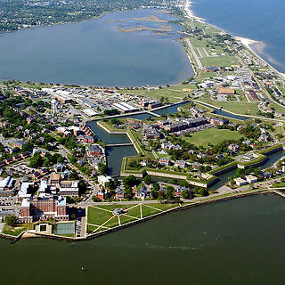 Aerial shot of Ft. Monroe.