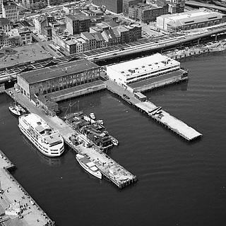 Aerial view of historic South Street Seaport