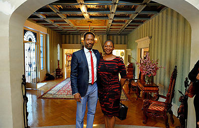 Brent Leggs, left, stands with Vanessa Bush, editor-in-chief of Essence Magazine