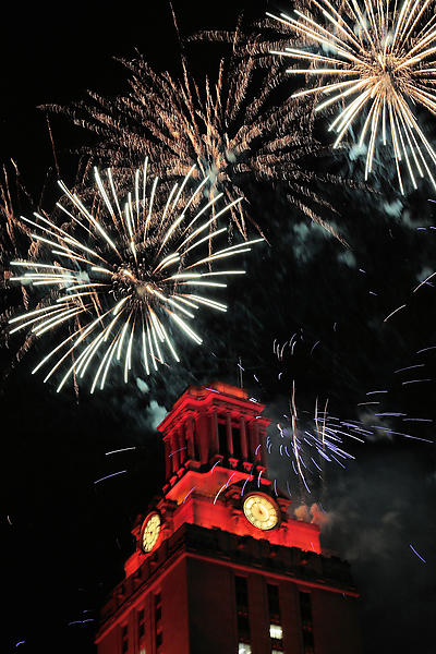 Fireworks light up the tower at University of Texas, Austin.