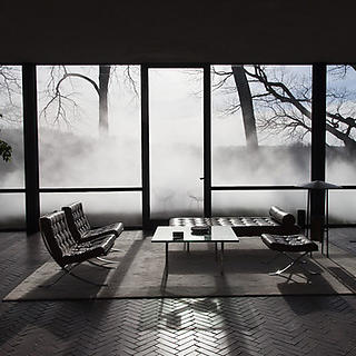 The Glass House Fog interior view looking out