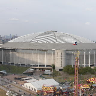 An outside shot of the Astrodome