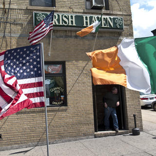 Exterior of the Irish Haven with Irish flag flying