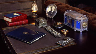 Desk with artefacts