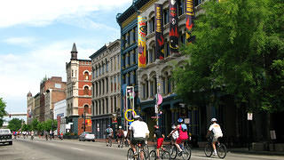 Cyclists on Main Street.