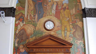 The Berkeley Main Post Office mural was painted by Susanne Scheuer in 1937 for the Treasury Relief Art Project (TARP)