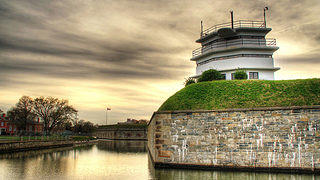 The stone walls and moat of Fort Monroe.