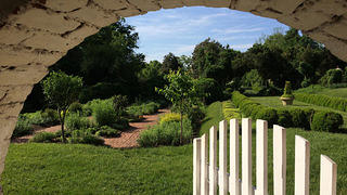 Gardens at Oatlands viewed from the gate