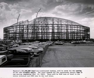 Construction, Astrodome roof nearly complete.