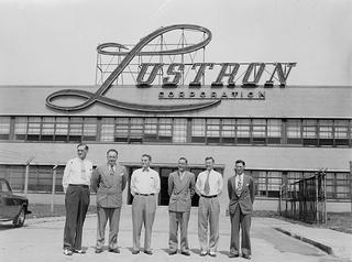 Employees standing outside the Lustron Corporation
