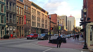 Wide sidewalks and historic commercial buildings on Main Street.