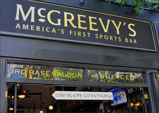 McGreevy's 3rd Base Saloon sign