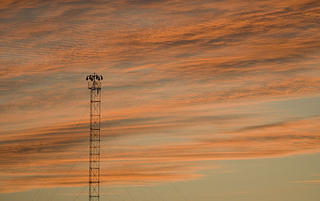 Moonlight tower at sunset