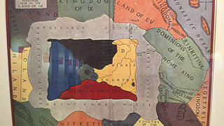 A map of Oz, on display in the Boston Public Library